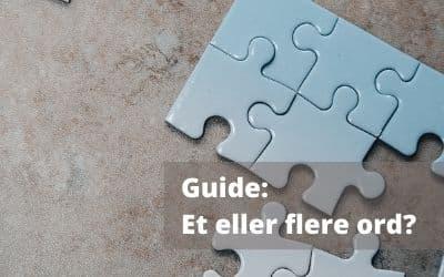 Brug guiden til at finde ud af, om du har fat i et eller flere ord